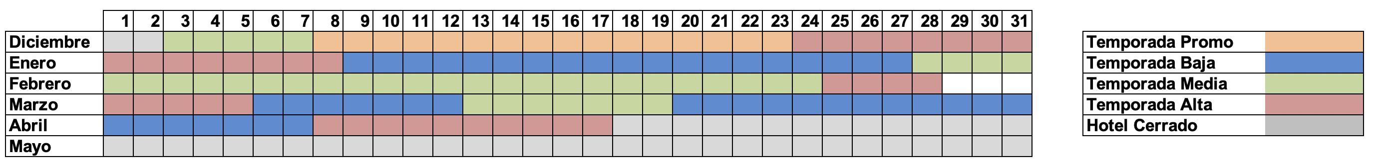 Calendario hotel del tarter invierno