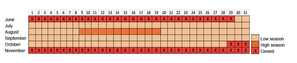 Calendar & Rates Hotel el Tarter | Andorra - Summer 2017