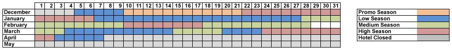 Calendar & Rates Hotel el Tarter | Andorra - Winter 2017-2018