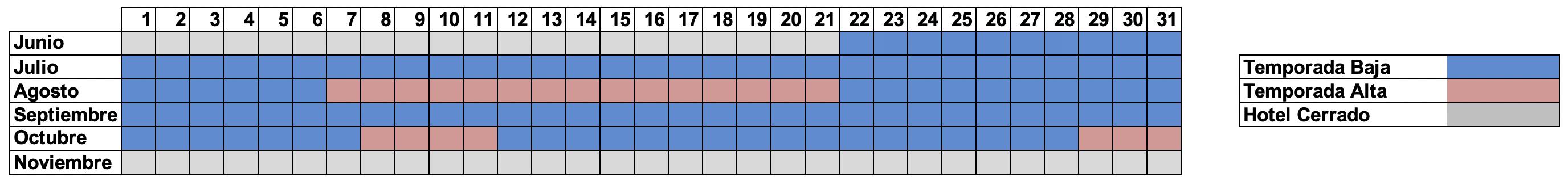 Calendario verano 2021